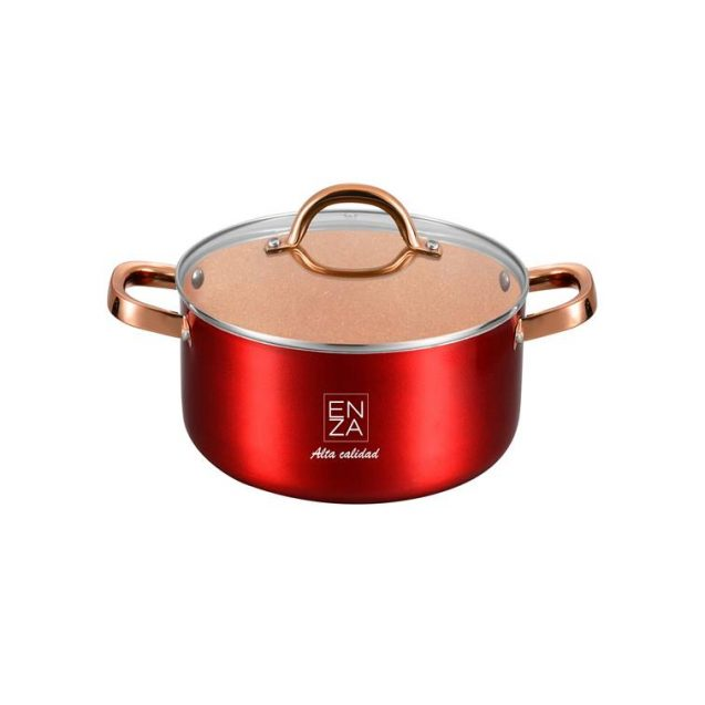 olla original de color rojo y dorado de 22 centimetros