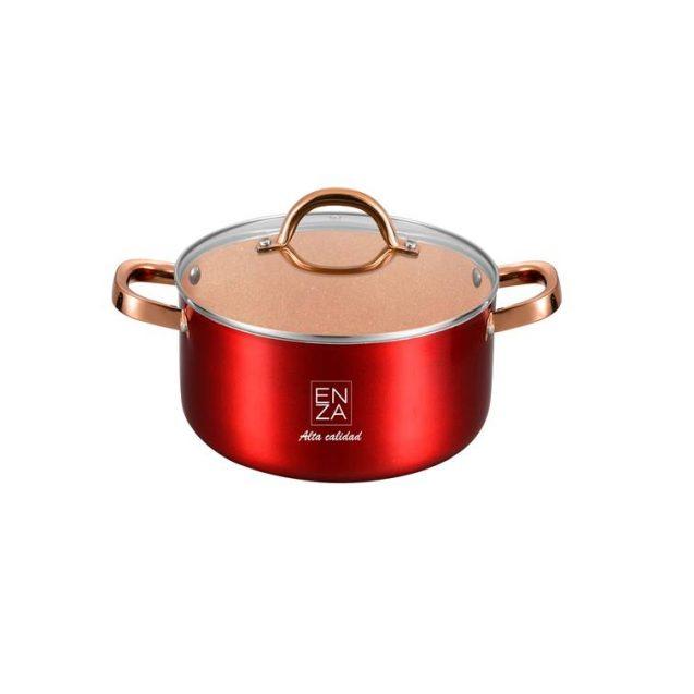 ollas para la cocina curiosas de 20cm en color rojo y dorado