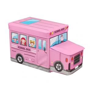 Puff infantil bus escolar rosado