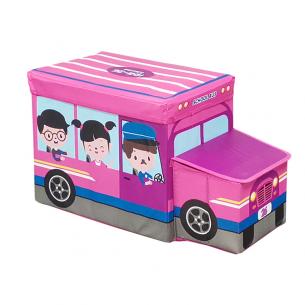 Puff infantil bus escolar fucsia