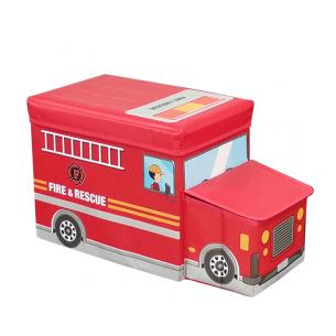 Puf infantil camion bomberos rojo