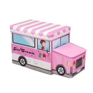 Puff infantil coche de helados rosado