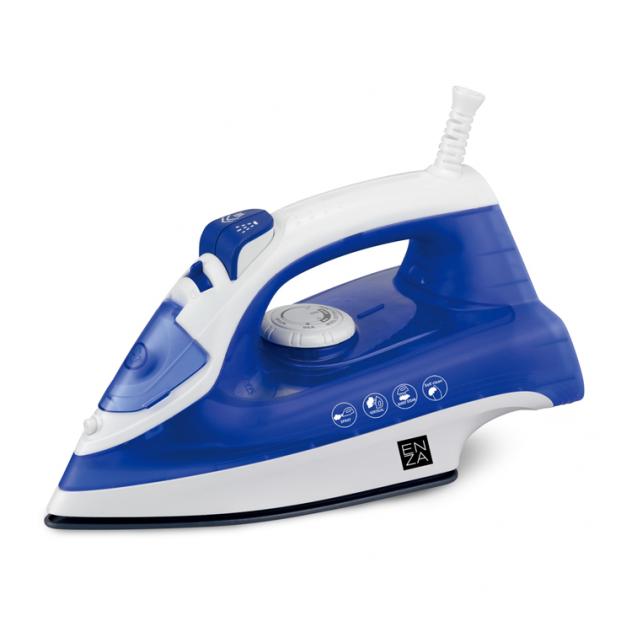 plancha de ropa a vapor azul y blanca enza pl20