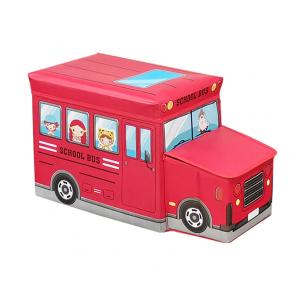 Puff plegable para niños bus escolar rojo